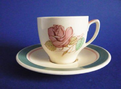 Lovely Susie Cooper Crown Works Pottery 'Patricia Rose' Coffee Cup and Saucer c1940